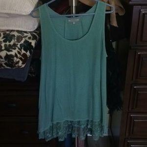 Short-sleeved green blouse